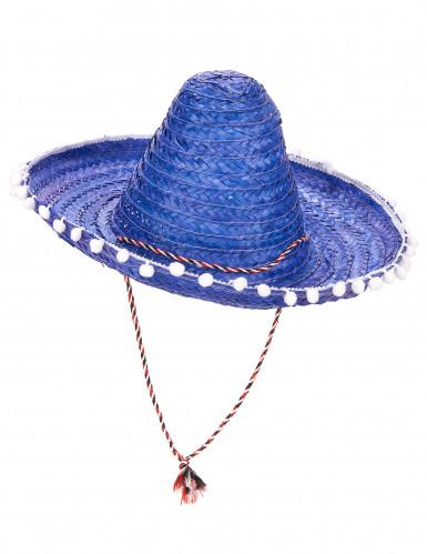 Sombrero bleu à bordure pompons adulte