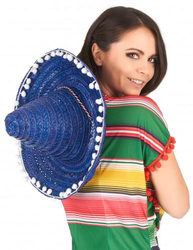 Sombrero bleu à bordure pompons adulte-2