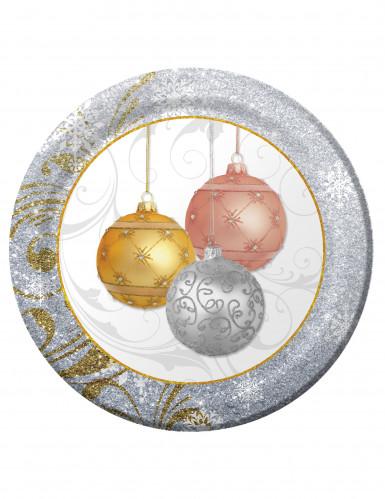 8 Assiettes en carton Paillettes de Noël 26 cm