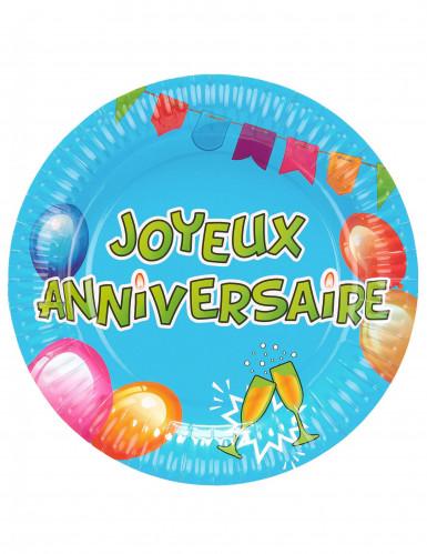6 Assiettes carton anniversaire Fiesta 23 cm