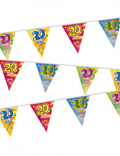 Guirlande 20 fanions plastifiés 20 ans Fiesta 7 m