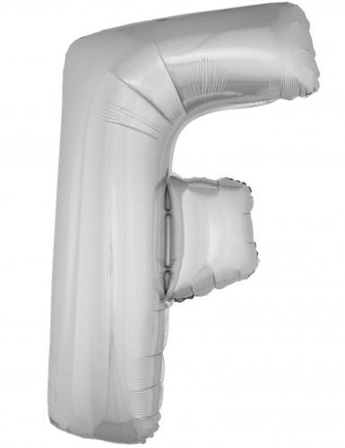 Ballon aluminium géant lettre F argenté 1m