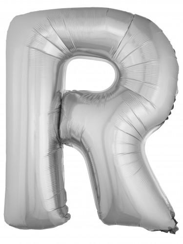 Ballon aluminium géant lettre R argenté 1m