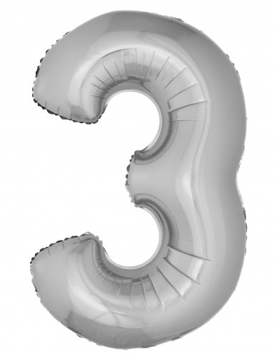 Ballon aluminium géant chiffre 3 argenté 1m