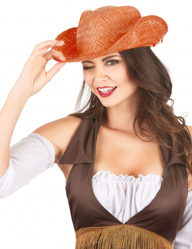 Chapeau de paille Western orange adulte-1