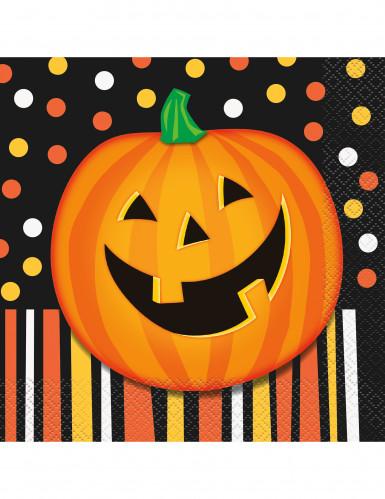16 Serviettes en papier Citrouille souriante Halloween 33 cm