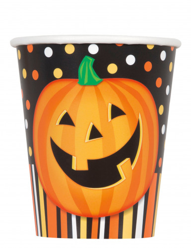 8 Gobelets en carton Citrouille souriante Halloween
