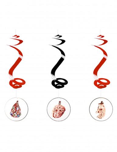 3 Suspensions spirale horreur halloween 60cm