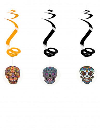 3 suspensions spirale Dia de los muertos 60 cm