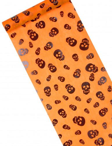 Chemin de table orange tête de mort halloween