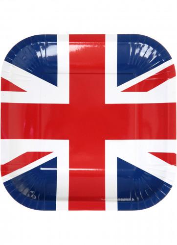 10 Assiettes carrées en carton Royaume-Uni 23 cm