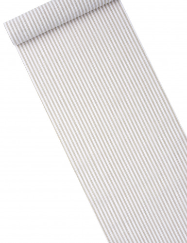 Chemin de table en lin à rayures blanches 5 m