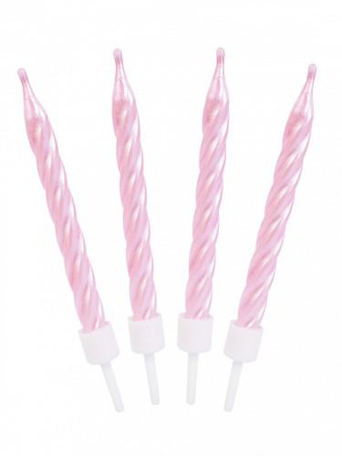 12 Bougies d'anniversaire rose nacrées-1