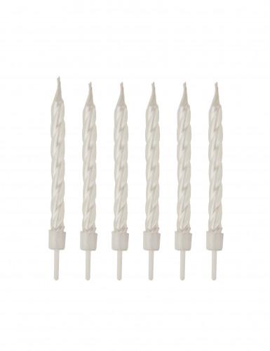 12 Bougies d'anniversaire blanc nacré