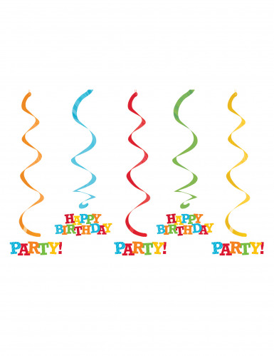 5 Suspensions spirales Happy Birthday