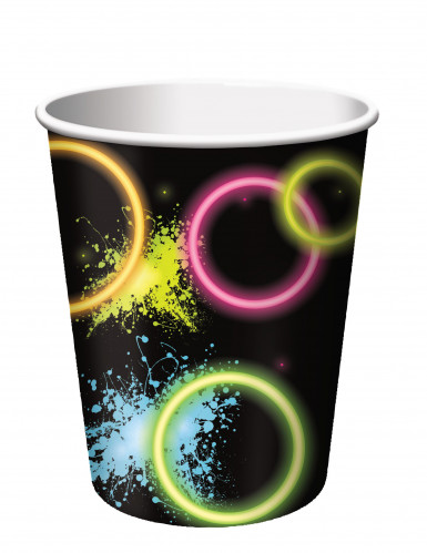 8 Gobelets en carton Fluo Party 266 ml