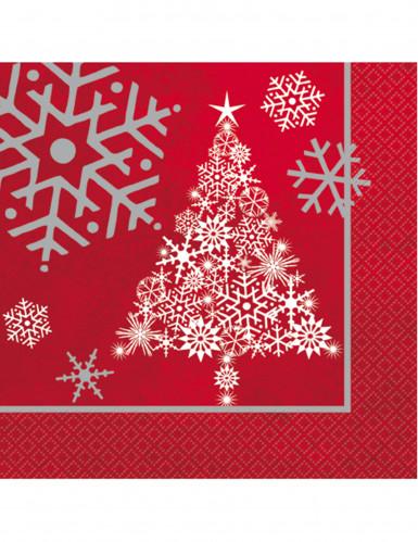16 serviettes en papier Sapin de Noël étoilé 33 X 33 cm