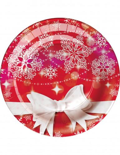8 Assiettes en carton Noeud de Noël 23cm