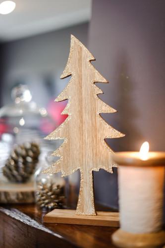 Sapin en bois à paillettes cuivrées 20 cm-1