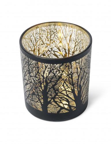 Photophore noir et or arbre 7.5 cm