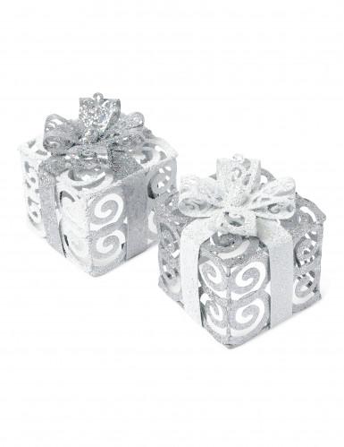 Une décoration cadeau à paillettes argent et blanc 7 cm