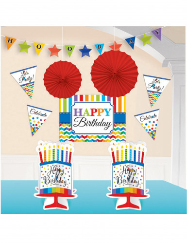 Kit de 10 décorations multicolores Happy Birthday