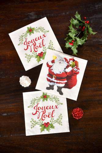 20 Serviettes en papier Joyeux Noël-1