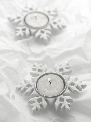 Porte bougie flocon de neige blanc-1