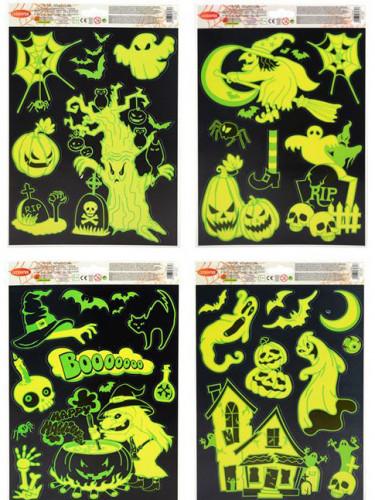 Décorations pour fenêtres phosphorescentes 27 x 20 cm Halloween