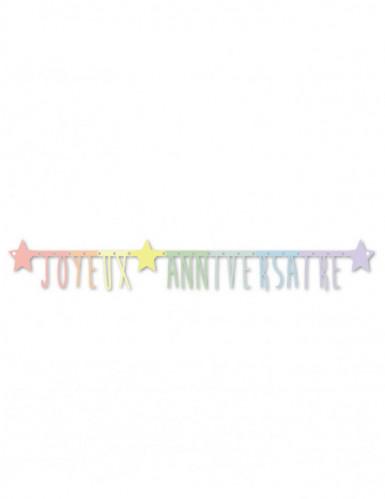 Guirlande articulée Joyeux anniversaire pastel 160 cm-1