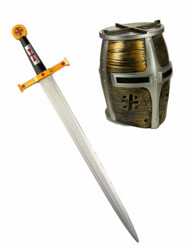 Epée et casque chevalier guerrier enfant-1