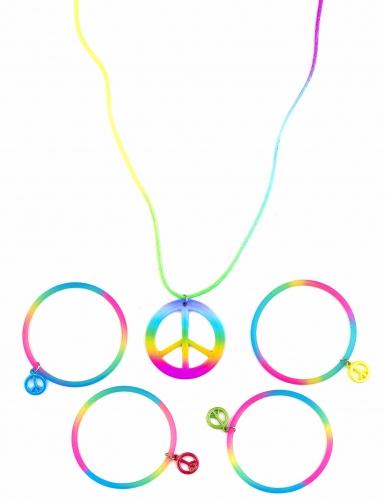 Collier et bracelets hippie multicolores plastique adulte