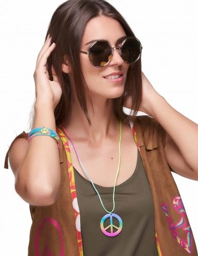 Collier et bracelets hippie multicolores plastique adulte-1