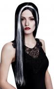 Perruque sorcière noire et blanche femme Halloween