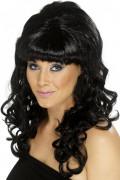 Perruque longue noire femme