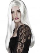 Perruque longue blanche femme