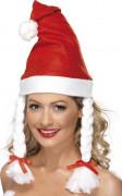 Bonnet Mère Noël à couettes adulte