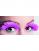 Faux cils plumes roses adulte
