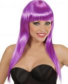 Perruque longue violette à frange femme