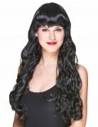 Perruque noire à frange  femme