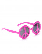Lunettes hippie rose adulte