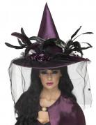 Chapeau sorcière luxe violet femme Halloween