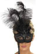 Loup vénitien noir avec plumes noires sur tige adulte