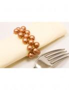 2 ronds de serviette en perles bronze