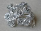 Sachet de 12 petites roses lurex argent