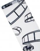 Chemin de table cinéma blanc motifs noirs