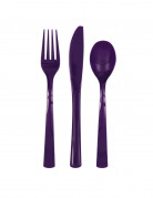 18 Couverts en plastique violet