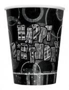 8 Gobelet Happy Birthday gris métallisés