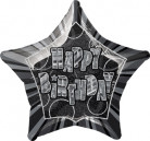 Ballon étoile gris Happy Birthday