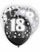 6 Ballons latex gris, noirs et blancs 18 ans